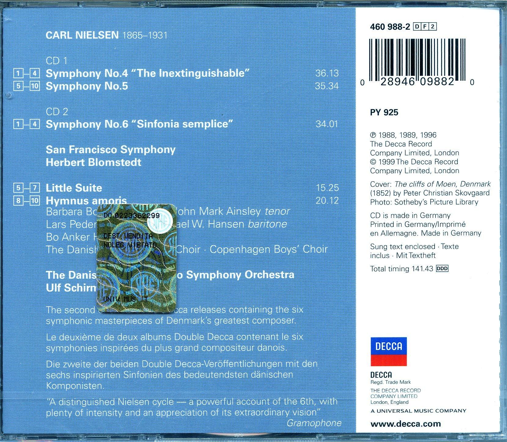Nielsen: Symphonies no 4-6 / Blomstedt, San Francisco Symphony Orchestra