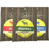 Jerky.com's Elk Jerky Sampler - TESTER 3 PACK - Original Elk Jerky, Teriyaki Elk Jerky and Hot Elk Jerky - World Famous, Small Batch Elk Jerky - 5.75 total oz.