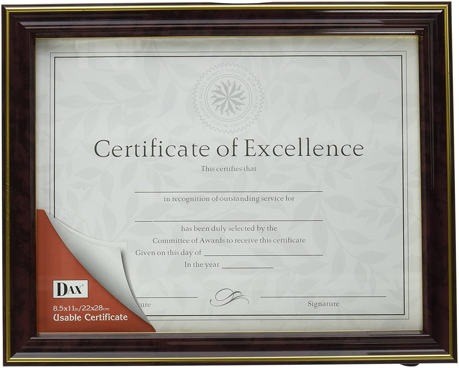 amazon dax gold trimmed document frame with certificate wood amazon dax gold trimmed document frame with - Document Frames 85 X 11