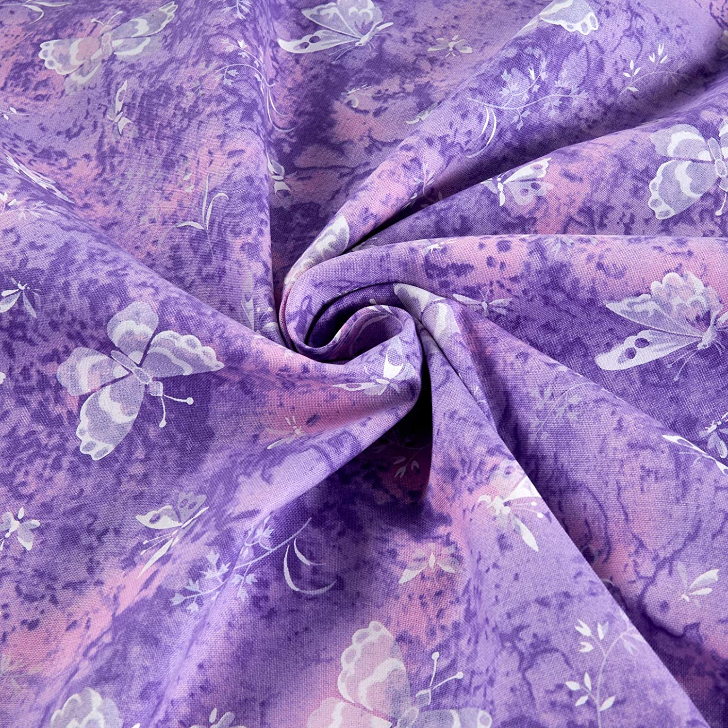 Fabric Traditions Tossed Butterflies Purple Fabric By The Yard