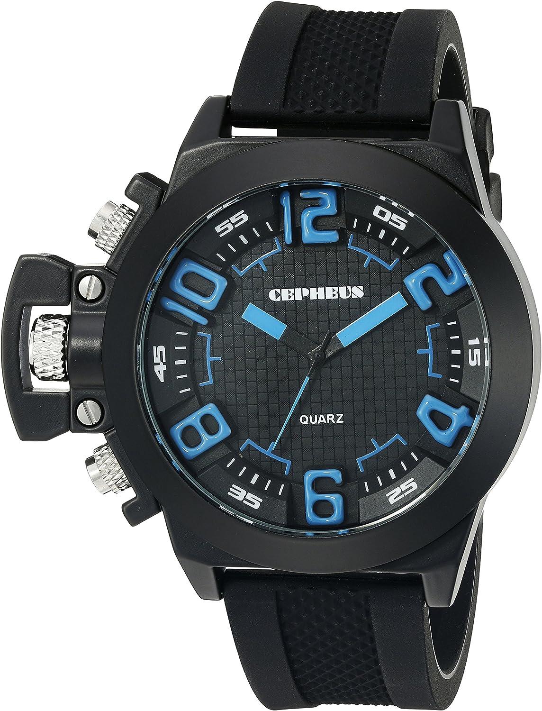 CEPHEUS CP901-622B - Reloj analógico de Cuarzo para Hombre con Correa de Silicona, Color Negro