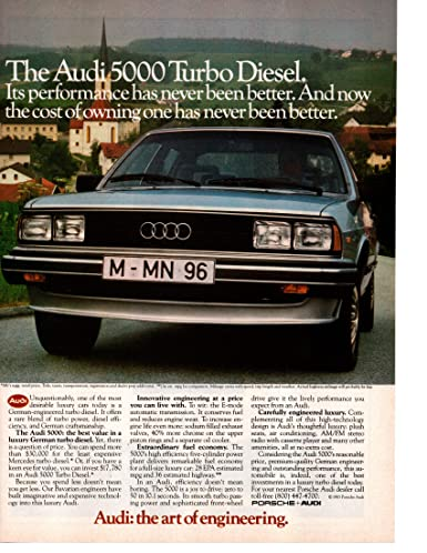 Amazon.com: Magazine Print ad: 1983 Audi 5000 Turbo Diesel, 17,780,