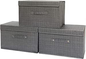 Adinlife Collapsible Fabric Storage Box Closet Organizers and Foldable Storage Bins with Lids 3 Packs 15