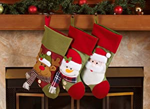"Imperial Home 3 Pcs Set - Classic Christmas Stockings 18"" Cute Santa's Toys Stockings (Fleece Trim)"