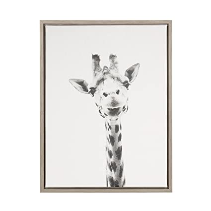 Kate and laurel sylvie giraffe black and white portrait gray framed canvas wall art by simon