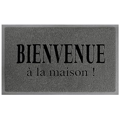 Tapis Deco Maison Tapis D Entree Pvc Gris Noir 75 X 45 X 75 Cm