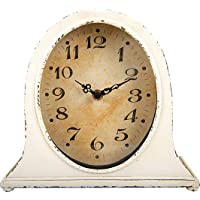 Creative Co-Op Metal Distressed White Finish Mantel Clock