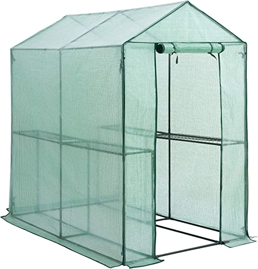 Gardebruk Invernadero 2, 23m² con lona 190x186x120cm vivero de jardín con puerta huerto exterior plantas verduras sembrado: Amazon.es: Jardín