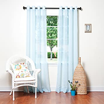 Best Home Fashion Crushed Voile Sheer Curtains   Antique Bronze Grommet Top    Sky Blue