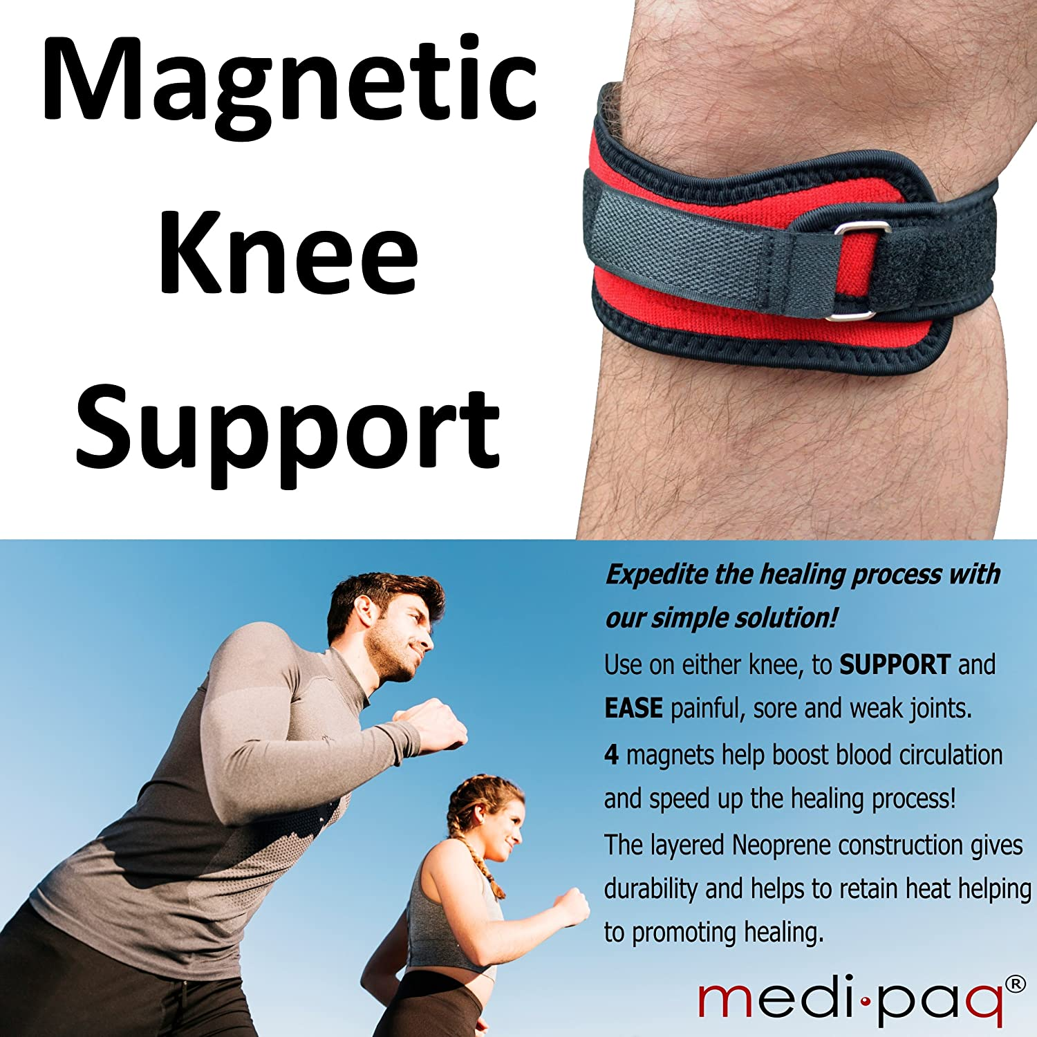 5257223d8c Medipaq® Knee Patella Compression Support Strap Brace with 4x Powerful Magnets  for Pain Relief: Amazon.co.uk: Health & Personal Care