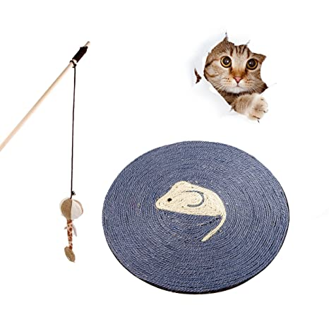 FONPOO Rascador de Gato,Cojín Redondo del Rasguño del Cáñamo del Sisal,Juguete para Gatos