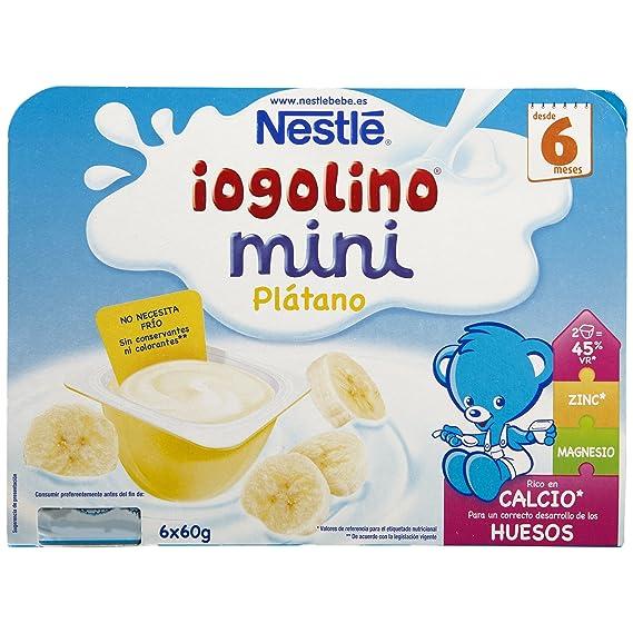 Nestlé iogolino Leche Fermentada con Puré de Plátano - Paquete de 6 x 60 gr -