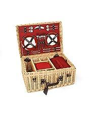 The Greenfield Collection, GG020, Cestino di vimini da Picnic Deluxe, per 4 persone, colore interno: Rosso, Rosso (Rot)