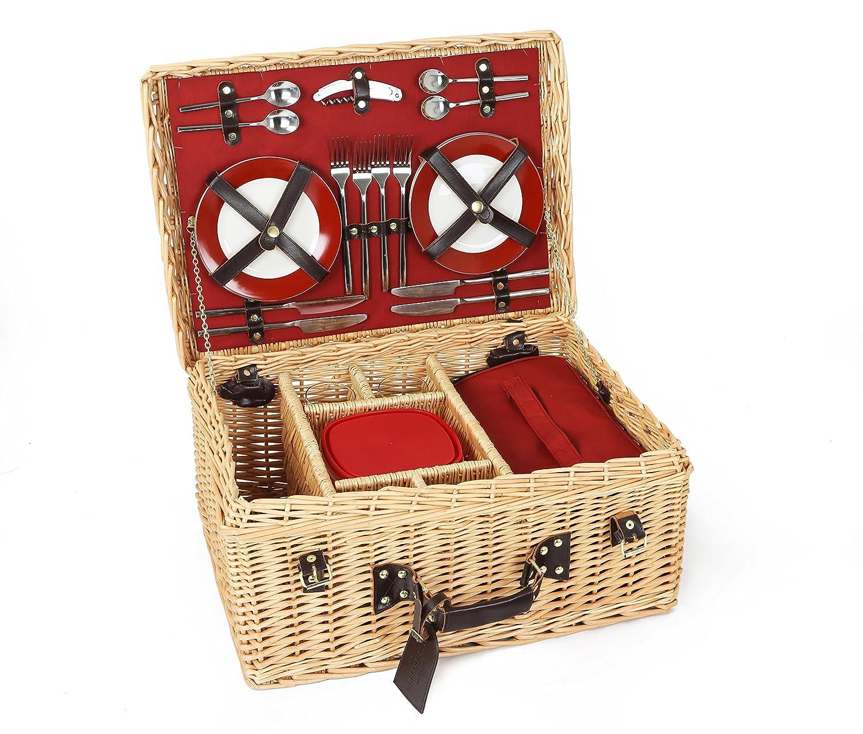 The Greenfield Collection, GG020, Cestino di vimini da Picnic Deluxe, per 4 persone, colore interno: Rosso, Rosso (Rot) Campeggio