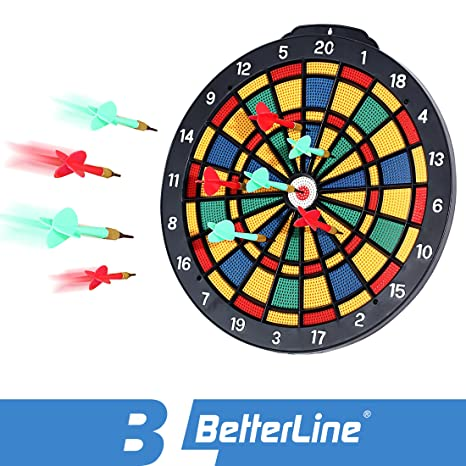 Delicieux BETTERLINE Safety Dart Board Set With 6 Safe Soft Plastic Tip Darts   13.8  Inches (