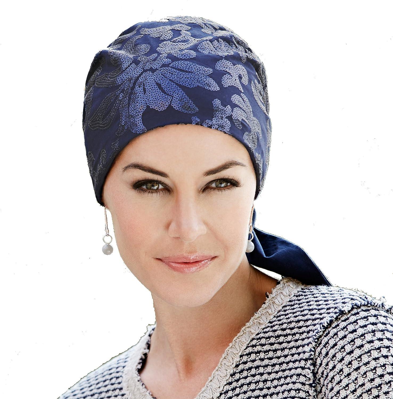 Pañuelo oncológico de vestir de algodón azul con lentejuelas ...