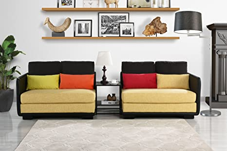 Sensational Classic 2 Piece Colorful Convertible Living Room Sofa Adjustable Couch Black Yellow Gmtry Best Dining Table And Chair Ideas Images Gmtryco