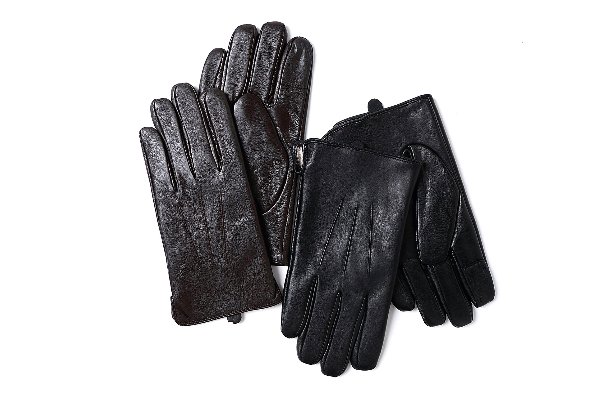YISEVEN Men's Sheepskin Leather Gloves Three Points Wool Lined Real Luxury Design Soft Hand Warm Fur Heated Lining for Winter Stylish Dress Work Xmas Gift and Motorcycle Driving, Brown 095/Large by YISEVEN (Image #6)