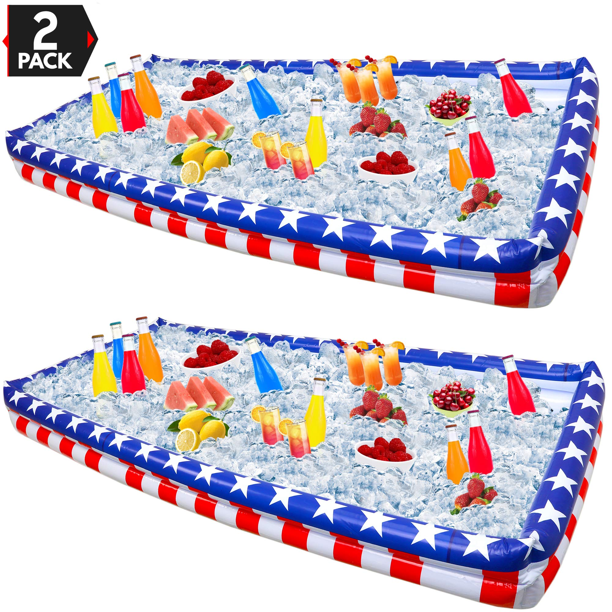 Outdoor Inflatable Buffet Cooler Server - Patriotic Red White and Blue Blow Up Cooling Tub for Serving Buffet Style Picnic - Pack of 2 by Big Mo's Toys (Image #1)