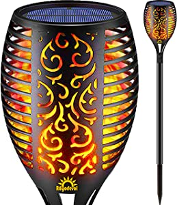 Rayodesol Solar Flame Torch Lights Outdoor, Decorative Pack of 1 piece Lamp with Dancing Flames Torches Landscape, Waterproof Outdoors Garden Patio Deck Decorations Lighting with Auto On/Off