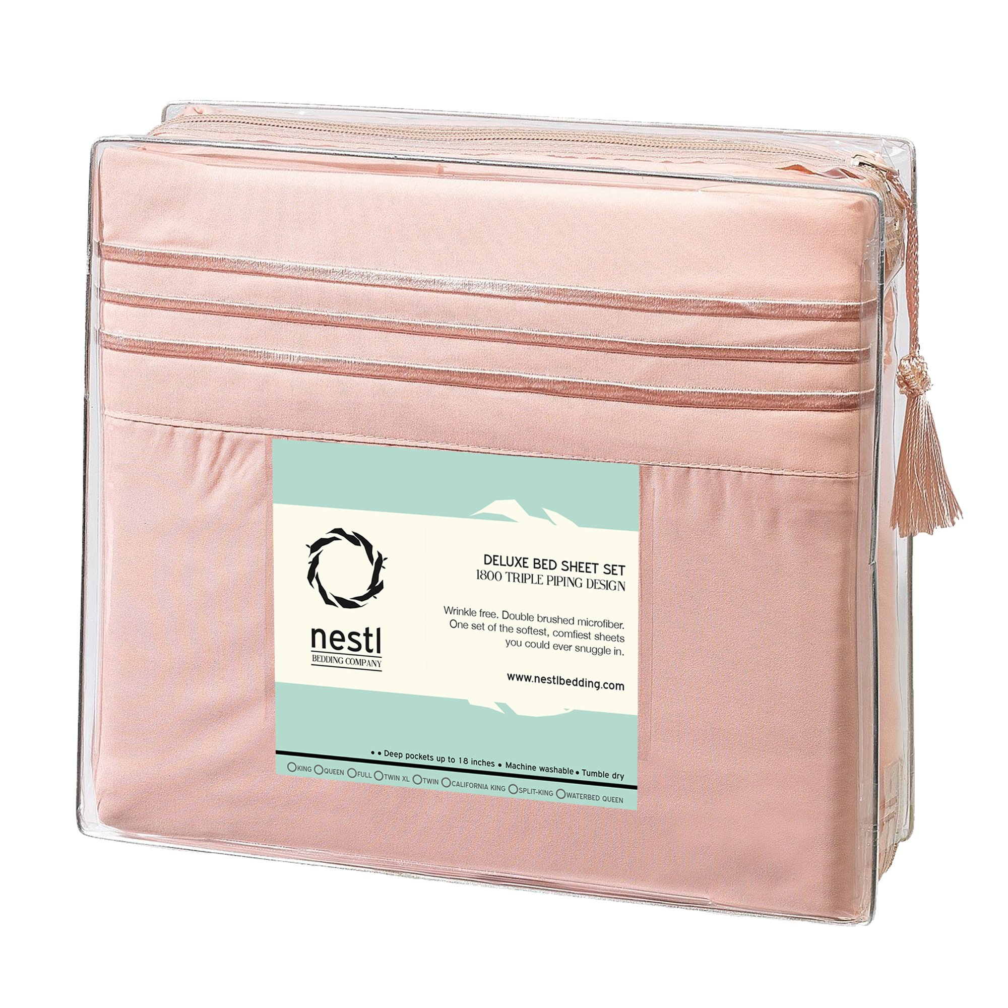 Full Size Bed Sheets Set Peach, Bedding Sheets Set on Amazon, 4-Piece Bed Set, Deep Pockets Fitted Sheet, 100% Luxury Soft Microfiber, Hypoallergenic, Cool & Breathable by Nestl Bedding (Image #7)