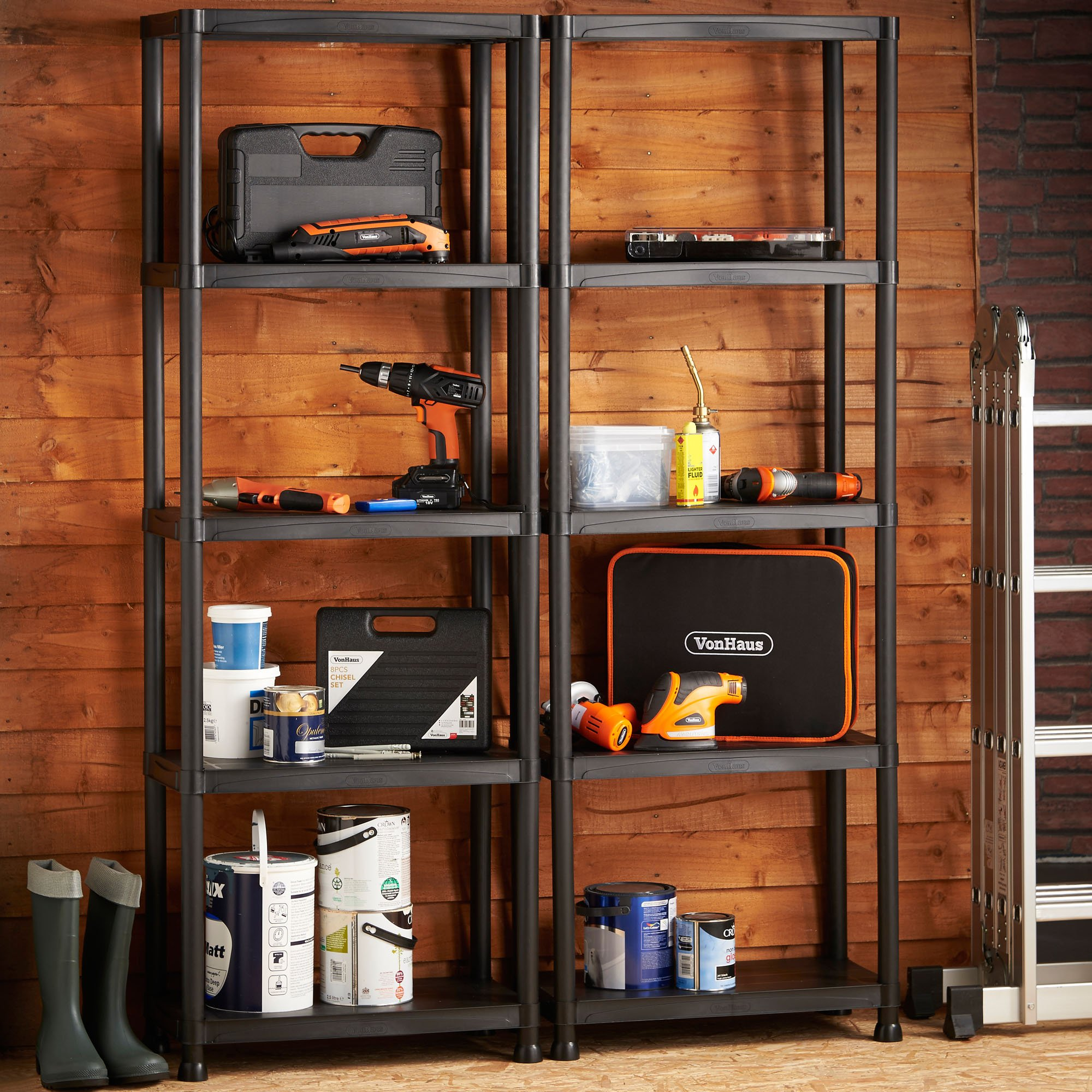 vonhaus 5 tier garage shelving unit with wall brackets pack of 2 heavy duty ebay. Black Bedroom Furniture Sets. Home Design Ideas