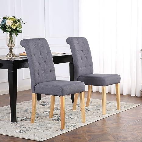 Juego de 6 sillas de comedor, tela de lino, respaldo alto, color gris oscuro