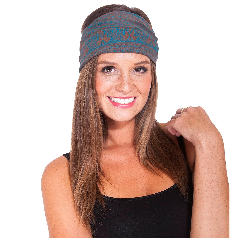 Organic cotton Tribal printed Fleece lined headband-Brown-One Size