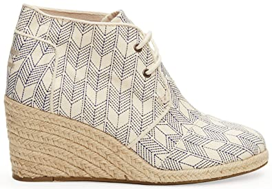 a12e3fe2b9f Image Unavailable. Image not available for. Color  TOMS Desert Wedge  Whisper Canvas Shashiko 10004991 Womens 5.5