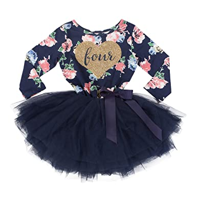 c83df7d2ded Grace   Lucille Toddler Birthday Dress (4th Birthday) (Navy Floral Long  Sleeve