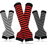 Bellady 3 Pairs Striped Arm Warmers Fingerless Gloves for Women