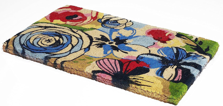 Handwoven, Extra Thick Doormat   Durable Coir, Easy Clean, Stylish   Entryway Door mat for Patio, Front Door   Decorative All-Season   Watercolor Floral   24
