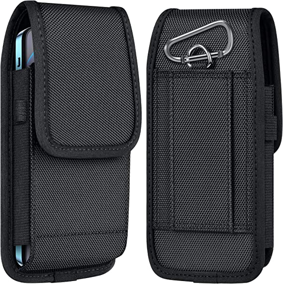 ykooe Cell Phone Pouch Nylon Holster Case with Belt Clip Cover Compatible with iPhone 12/Pro/Mini, 11, Pro, Max, SE2 7 8+ X, Samsung Galaxy S20 FE S10+ S9 A51 A01 Google Pixel 5/4A Moto/LG - Large