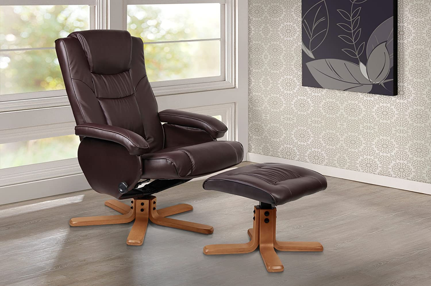 Lovely Birlea Nevada Faux Leather Swivel Chair With Footstool, Brown:  Amazon.co.uk: Kitchen U0026 Home