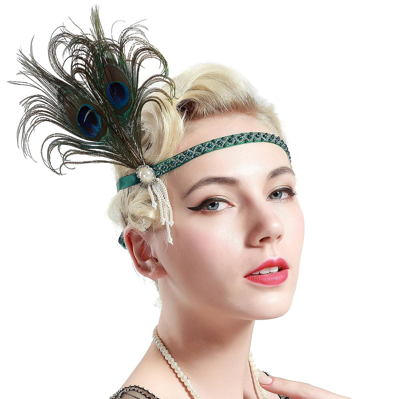 BABEYOND 1920 Flapper Diadema de Pluma de Pavo Real Cinta para el Pelo Vintage Gatsby Disfraz Flapper Accesorios Fiesta Tem/ática