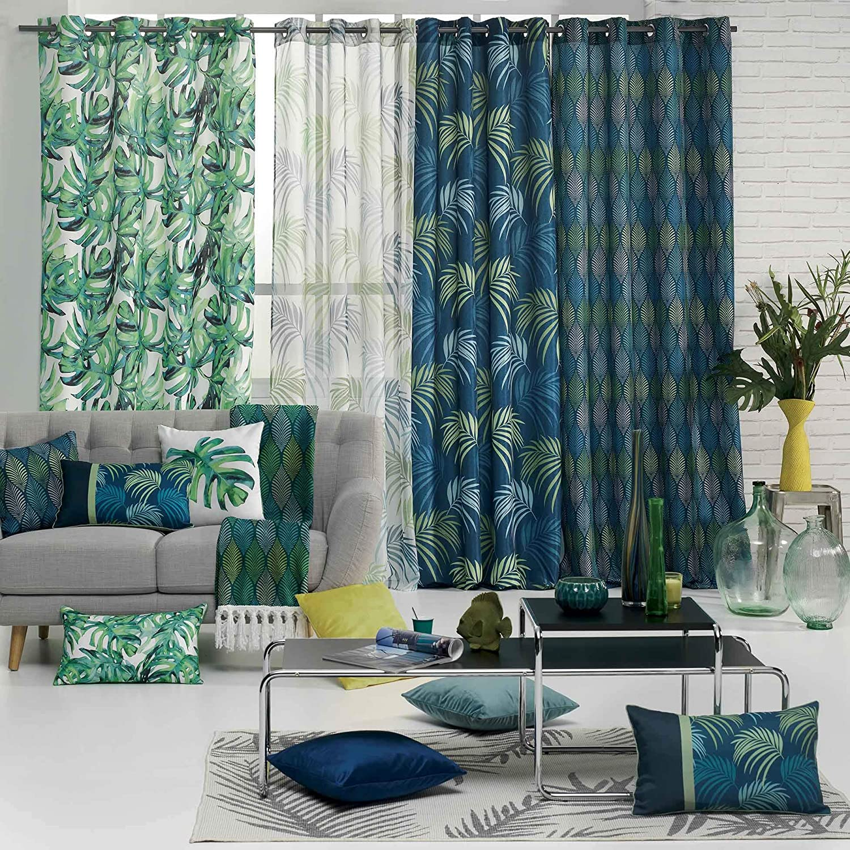douceur dint/érieur rideau a oeillets 140x260 cm polyester winter green bleu