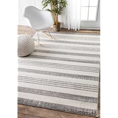 Contemporary Parallels Stripes Geometric Grey Area Rugs, 4 Feet by 6 Feet(4' x 6')