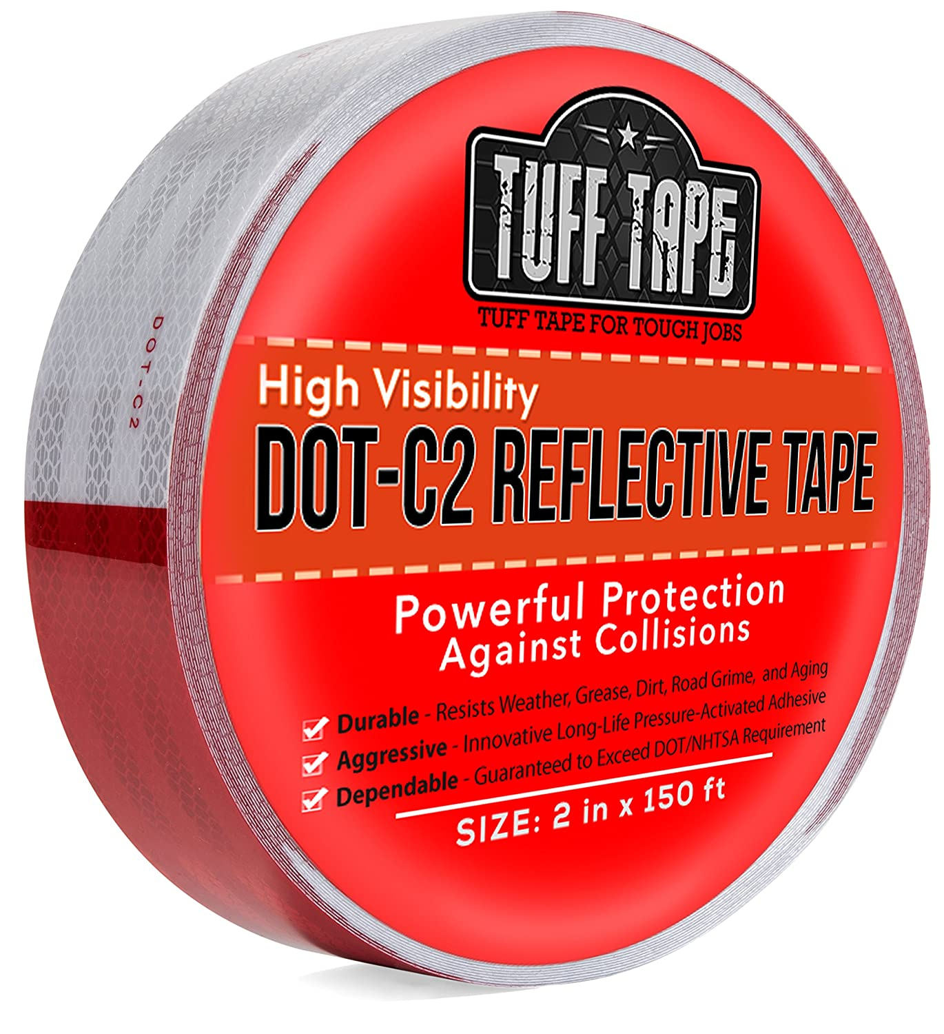 """DOT Reflective Tape - RED and White - DOT-C2 Conspiciuity Tape - Commercial ROLL - 2"""" inch x 150' FEET - Automobile Car Truck Boat Trailer Semi - Diamond Grade"""