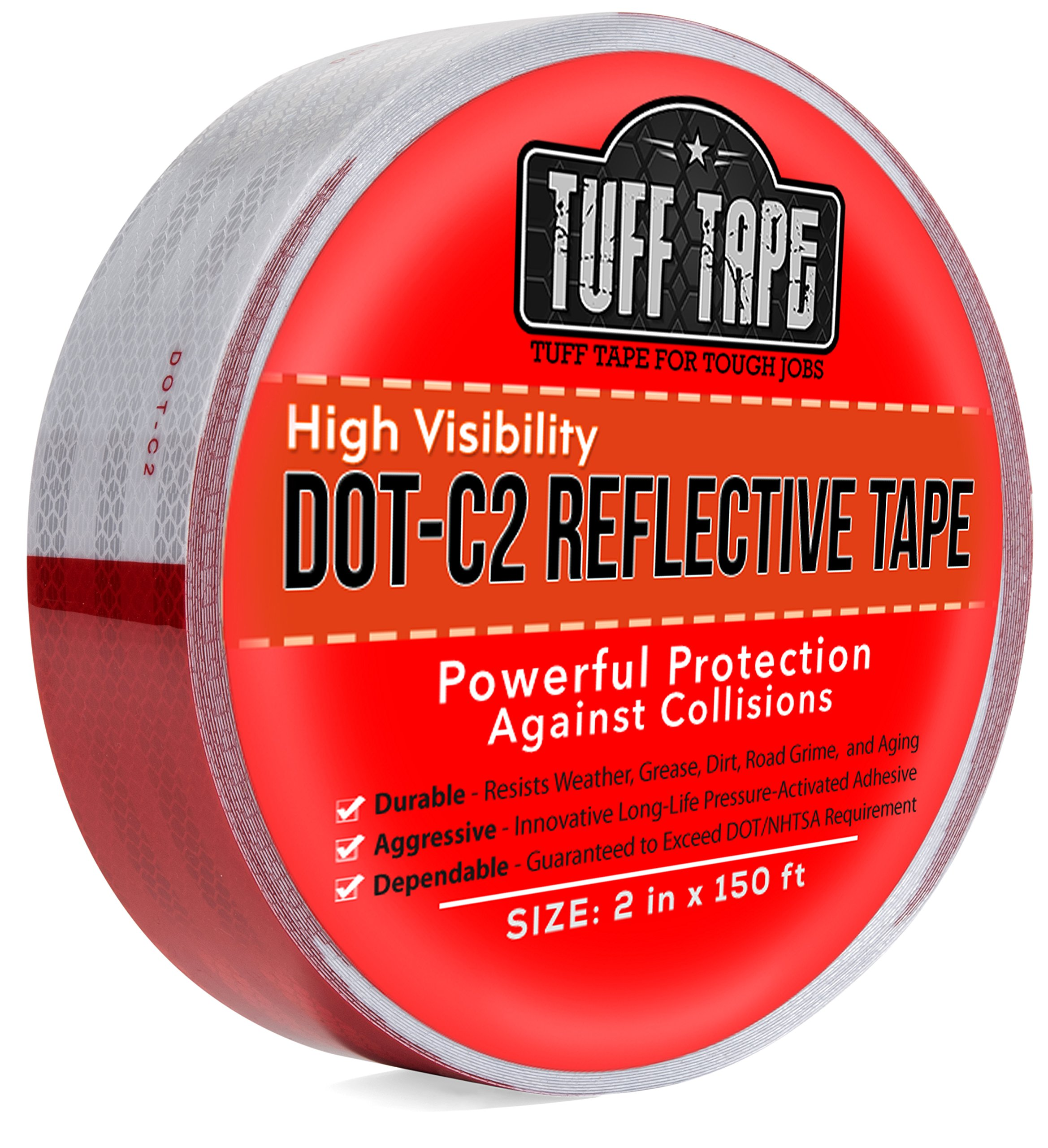 DOT Reflective Tape - RED AND WHITE - DOT-C2 Conspiciuity Tape - COMMERCIAL ROLL - 2'' inch x 150' FEET - Automobile Car Truck Boat Trailer Semi - Diamond Grade