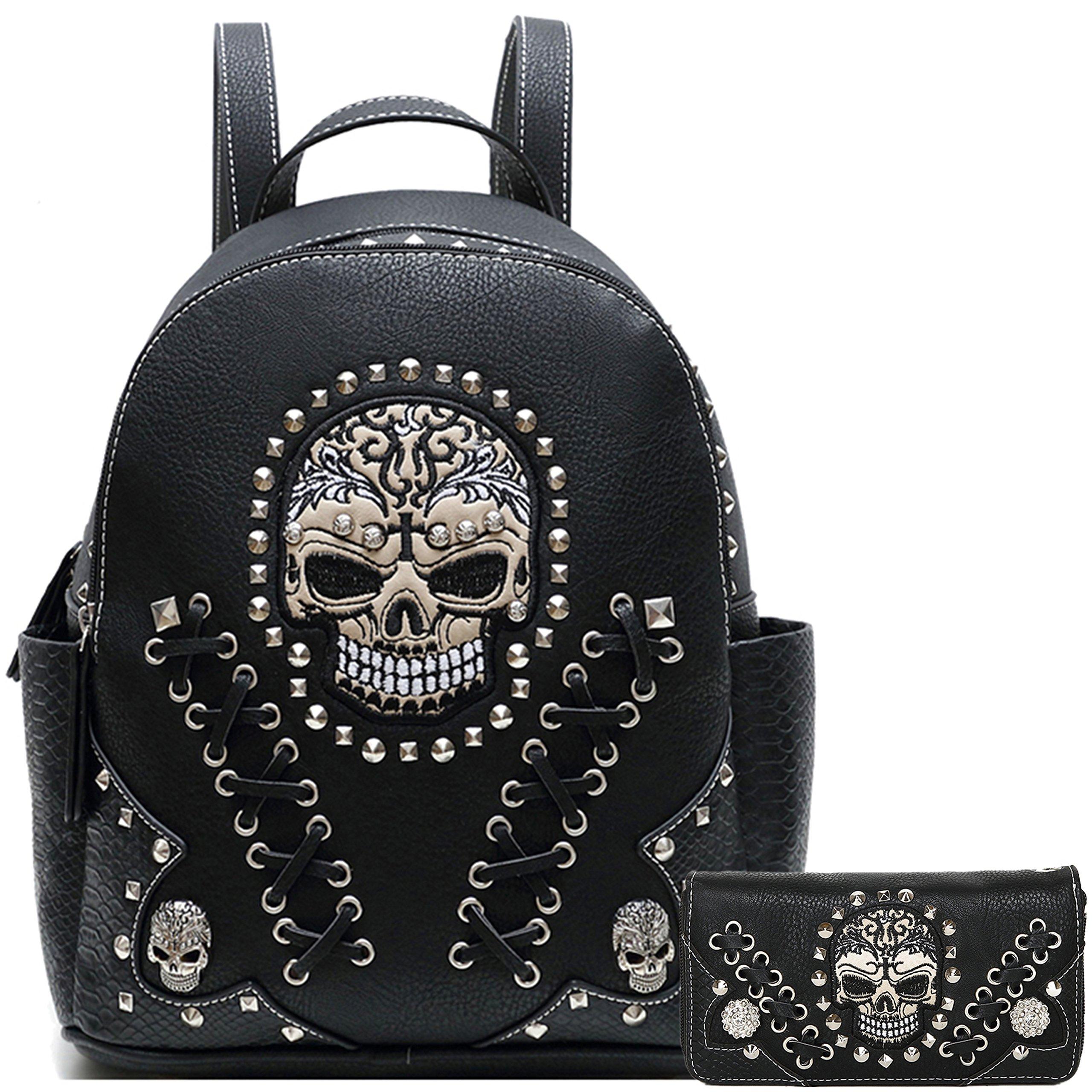 Sugar Skull Punk Art Rivet Stud Biker Purse Women Fashion Backpack Python Daypack Shoulder Bag Wallet Set (Black Set)