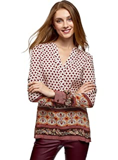 oodji Collection Mujer Blusa Recta con Escote en V