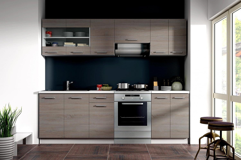 Küche Dave 240 cm Küchenzeile / Küchenblock variabel stellbar in ... | {Küchenblock aktion 18}