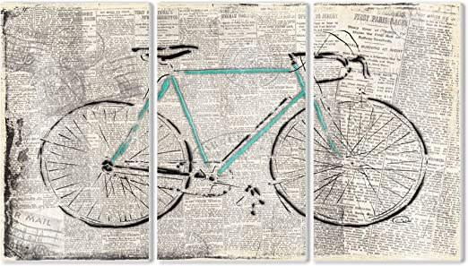 Stupell Home Décor Bicicleta sobre el Papel de periódico 3 Piezas ...