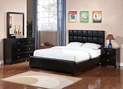 Amazon.com: Modern Black Faux Leather 4pc Set Bedroom ...