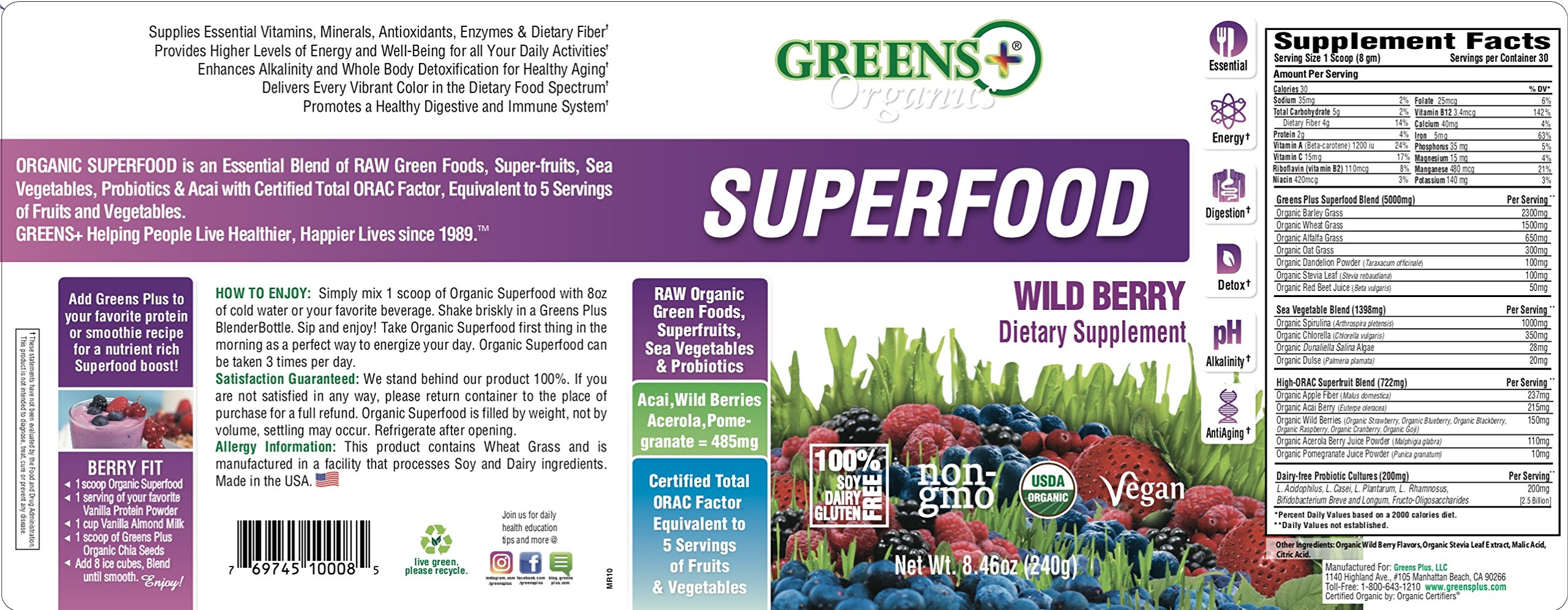 Greens Plus Organics Wild Berry Super-Food | Purely Vegan & Non-GMO | Dietary Supplement Greens Powder - 8.46 oz