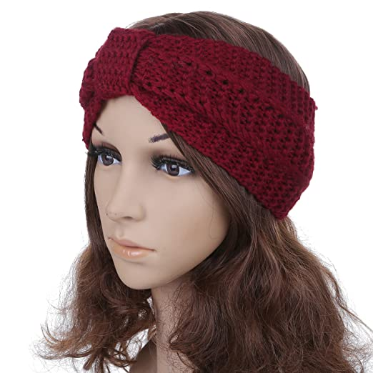 Womens Acrylic Crochet Bow Winter Headband Ear Warmer Hairband 1
