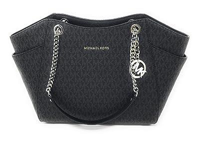 4d8c9c51da6a Amazon.com  MICHAEL KORS SIGNATURE JET SET TRAVEL CHAIN SHOULDER TOTE BAG  BLACK PVC  Shoes
