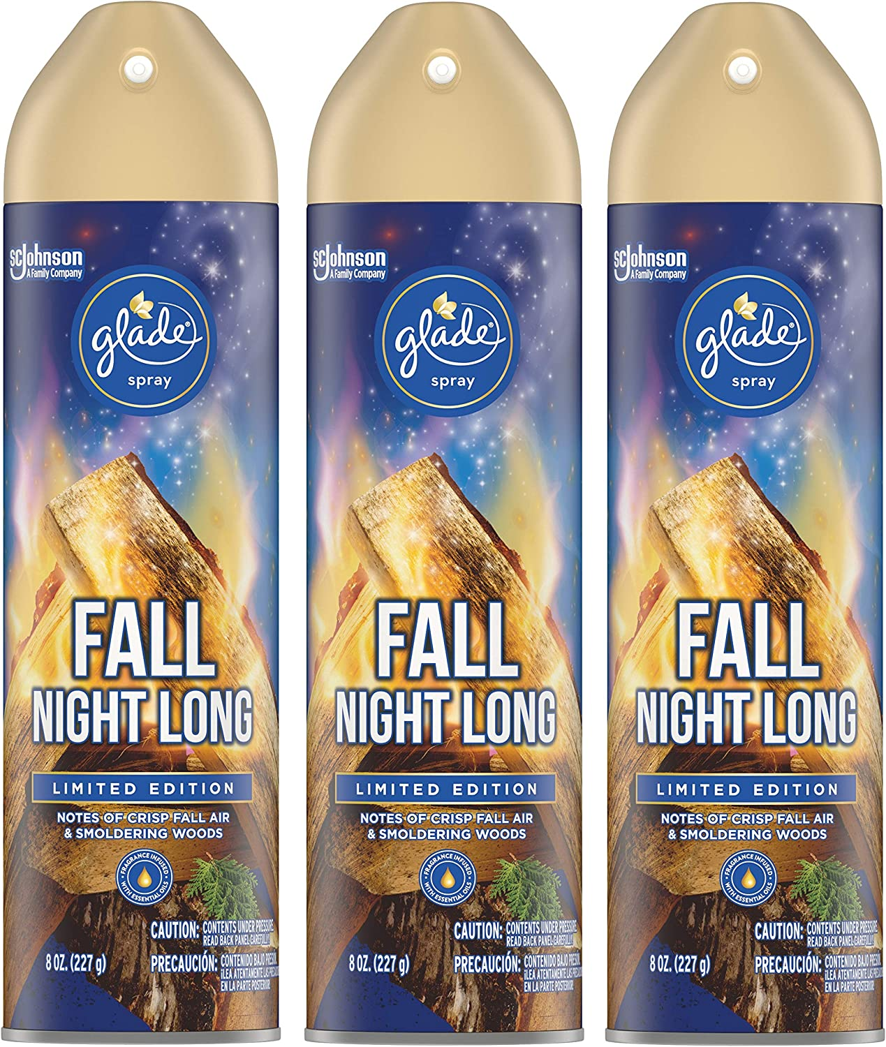 Glade Air Freshener Spray - Fall Night Long - Holiday Collection 2020 - Net Wt. 8 OZ (227 g) Per Can - Pack of 3 Cans