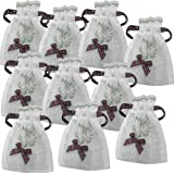 10 New Scottish Tartan Bow Heather Lavender Red Burgundy Embroidered Drawstring Gift Bags ZH80 FREE UK POSTAGE