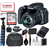 "Canon PowerShot SX70 HS Digital Camera (Black) with Bundle Package Deal –SanDisk 32gb SD Card + Camera Bag + 12"" Gripster Tripod and More"
